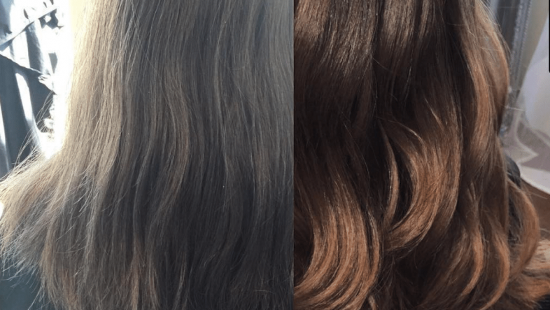 Before and after picture of hair