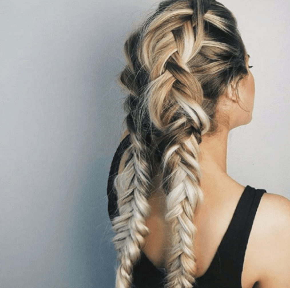 Double French braids for working out