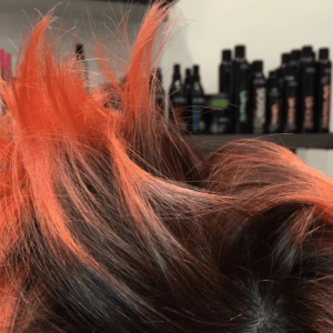Hair sticking up to show the diameter of the hair strands