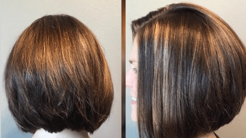 Woman with short, shiny hair