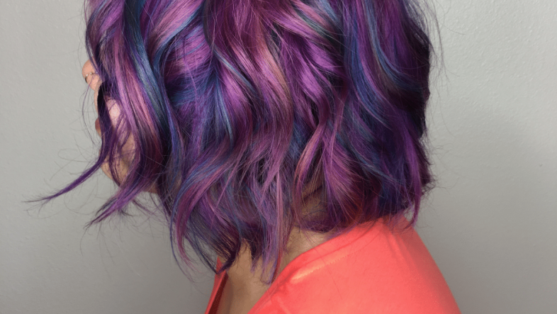 Purple, pink, and blue hair color