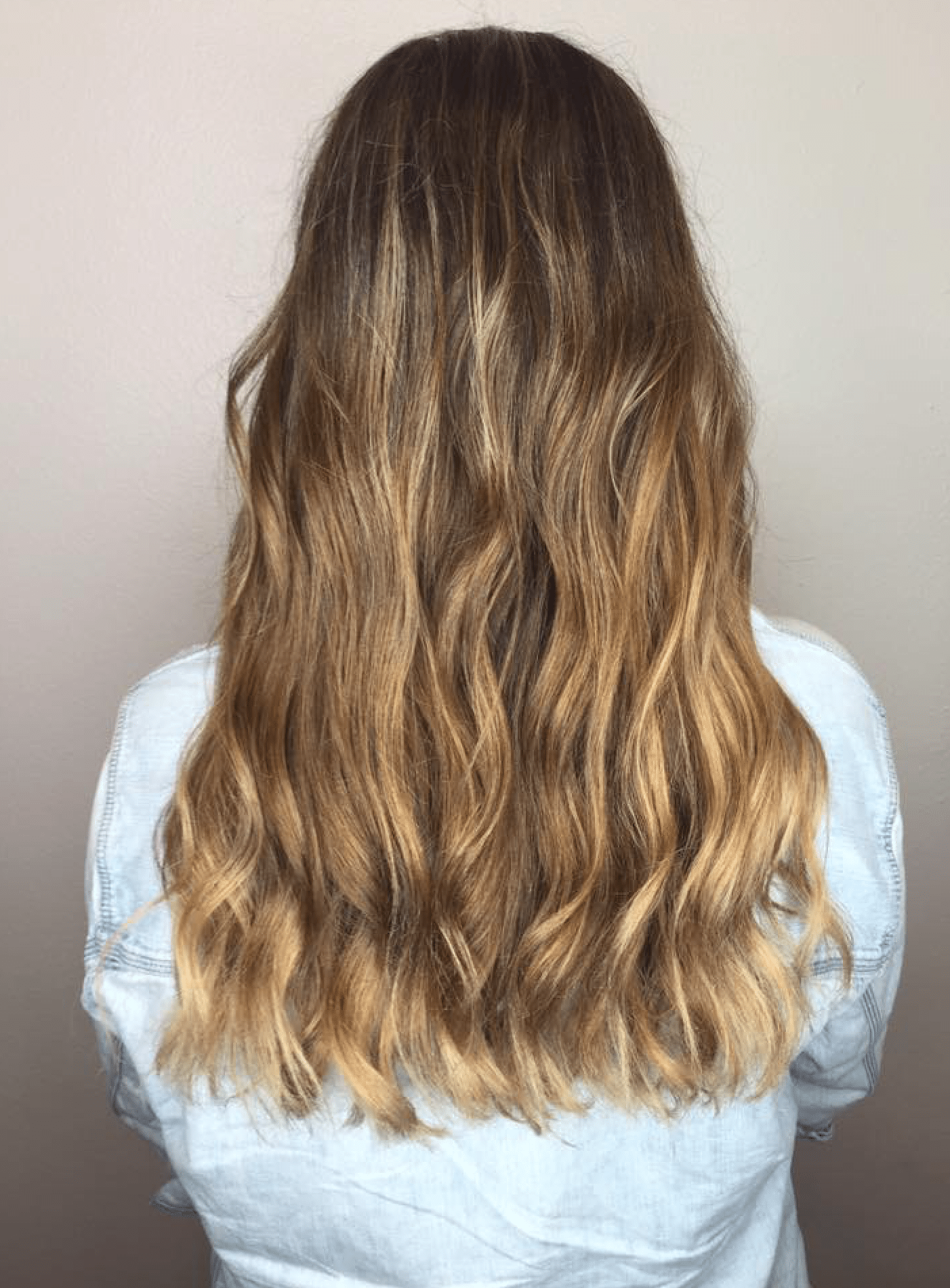 Long, shiny, wavy hair